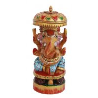 Wooden Ganesha Emboss Painted For Home Decor - 5573846