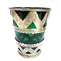 Metal Candle Stand With Green Glass - TAS318