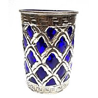 Metal Candle Stand With Blue Glass - TAS322