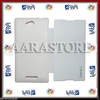 Aara Flip Cover For Sony Xperia C S39h C2304 C2305  -White