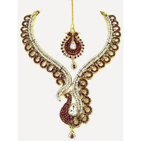 Colorful Stone Necklace Set With Mangtikka & Earrings - 69155