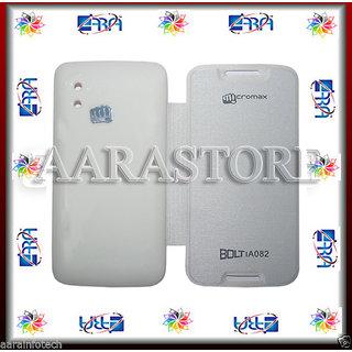 Aara Premium Flip Cover For Micromax Bolt A082 - White