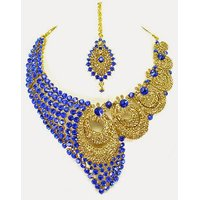 Colorful Stone Necklace Set With Mangtikka & Earrings - 69174