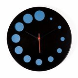Designer wall clock black and blue