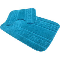 2 Pcs Microfiber Supersoft Bathmat Set Aqua Color
