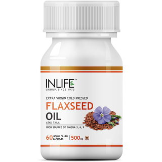 INLIFE Flax Seed Extra Virgin Cold Pressed Oil 60 Capsules For Joint Pain