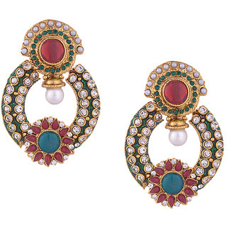 Pearl & Stone Embellished Green Meenakari Dangler Earrings For Women
