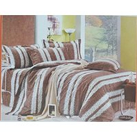 Z DECOR DARK BROWN PRINT DOUBLE BEDSHEET SBAC-0062