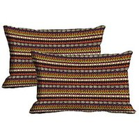 MeSleep Stripe Set Of 2 Pc Digitally Printed Pillow Cover -Size(12x18)