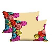 Circle Set Of 2 Pc Digitally Printed Pillow Cover -Size(12x18)