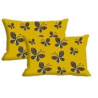 Butterfly Set Of 2 Pc Digitally Printed Pillow Cover -Size(12x18)