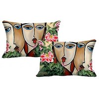 Faces Set Of 2 Pc Digitally Printed Pillow Cover -Size(12x18)