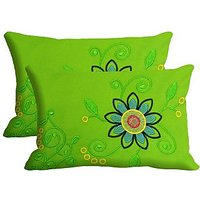 Blue Flower Set Of 2 Pc Digitally Printed Pillow Cover -Size(12x18)