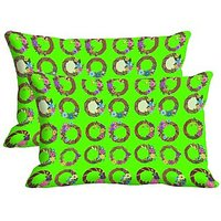 Circles Set Of 2 Pc Digitally Printed Pillow Cover -Size(12x18)