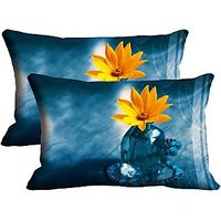 Yellow Flower Set Of 2 Pc Digitally Printed Pillow Cover -Size(12x18)