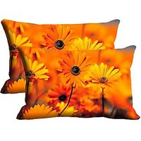 Sunflower Set Of 2 Pc Digitally Printed Pillow Cover -Size(12x18)