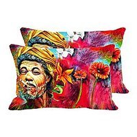 Smoking Villager Set Of 2 Pc Digitally Printed Pillow Cover -Size(12x18)