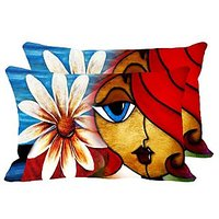 Double Face Set Of 2 Pc Digitally Printed Pillow Cover -Size(12x18)