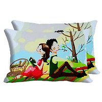 Picnic Set Of 2 Pc Digitally Printed Pillow Cover -Size(12x18)