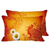 White Flowers Set Of 2 Pc Digitally Printed Pillow Cover -Size(12x18)