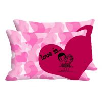 Pink Heart Love Is Set Of 2 Pc Digitally Printed Pillow Cover -Size(12x18)