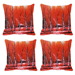 Red Forest Tree Digitally Printed Cushion Cover (12x12)