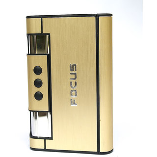 FOCUS Auto Ejection Butane Refillable Windproof Smoking Lighter Cigarette Case