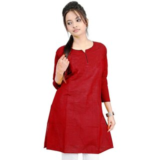Vihaan Impex Red Pure Cotton Handmade Handloom Indian Kurti