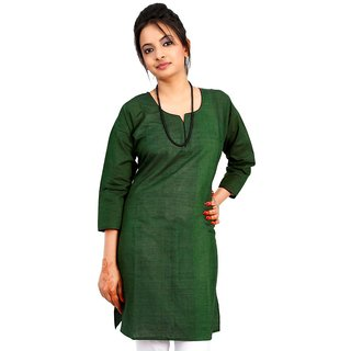 Vihaan Impex Green Pure Cotton Handmade Handloom Indian Kurti