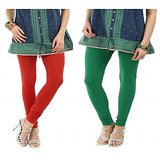 Women's Premium Legging Combo - Red & Green