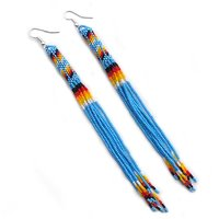 Turquoise Blue Fire Seed Beads Beaded Extra Long Earrings 5.5 Inch E53/24