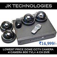CCTV CAMERA COMBO PACK OF 4 DOME CAMERA IR 36 LED 600TVL+1 DVR(WHOLE SALE)