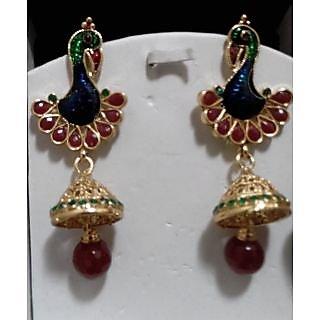 Avisa Jewel peacock meenakari chandelier earrings