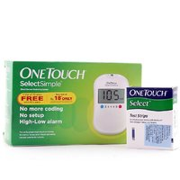 OneTouch Select Simple Blood Glucose Monitor System  Glucose Meter ( 10 Test Strips Free)