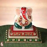 Siddhi Vinayak On A Marble Pedestal With Kundan Work