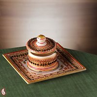 Gold And Red Kundan Work Square Marble Tray With Lid Container