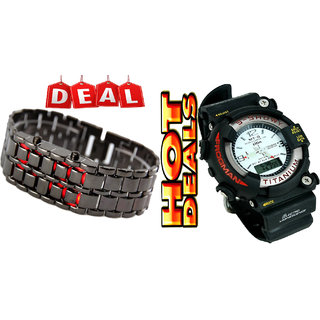 Lumina Combo Of LED Bracelet Watch With S-Showy Sport Watch For Men's