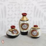 Miniature Terracotta Floral Vases With Warli Paint In Set Of 3