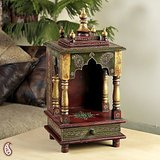 Hand Made Brass Finish Temple Nook In Solid Wood