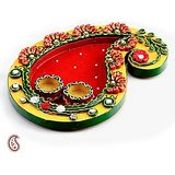 Keri Design Wood And Clay Work Pooja Thali