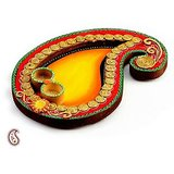 Yellow And Red Keri Design Wood Clay Pooja Thali