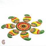 Handmade Wood And Clay Floral Floor Art { Rangoli }
