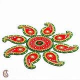 Red And Green Handmade Wood Clay Floral Floor Art { Rangoli }