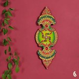 Green And Red Wood Clay And Kundans Wall Art