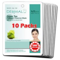 Green Tea Collagen Essence Face Mask For Instant Glow ( Pack Of 10)