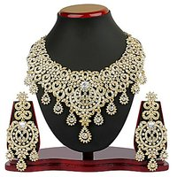 Vk Jewels Gold Plated Golden  Silver Necklace Set For Women