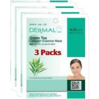 Green Tea Collagen Essence Face Mask For Instant Glow ( Pack Of 3)