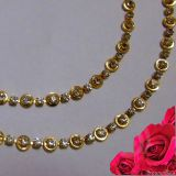 New Fancy Design Gold Plated Anklet (payal) With White Stone