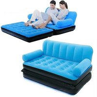 BestWay Branded Premium Velvet Inflatable 5 In 1 Sofa Bed Best Way Blue