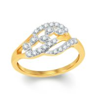 Pure Gold Jewellers In 18kt Yellow Gold Fancy Curved Ring With 24pcs Of 0.22cts Diamonds